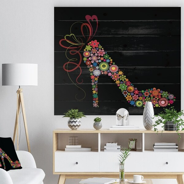 Designart 'Colorful Shoe with a Bow' Abstract Print on Natural Pine Wood - Multi-color