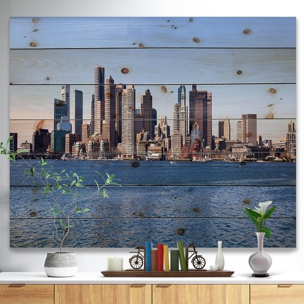 Designart 'Boston Skyline Panorama' Cityscape Photo Print on Natural Pine Wood - Blue