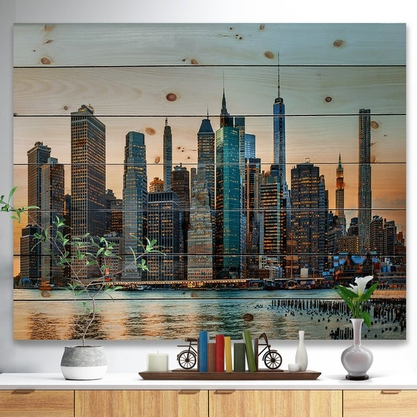 Designart 'New York City Skyline' Photography Print on Natural Pine Wood - Blue