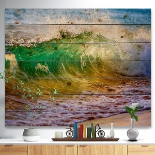Designart 'Ocean Turning Green' Seascape Print on Natural Pine Wood - Green