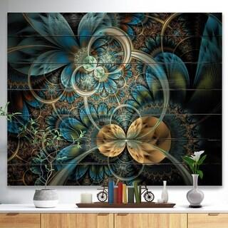 Designart 'Symmetrical Blue Gold Fractal Flower' Abstract Print on Natural Pine Wood