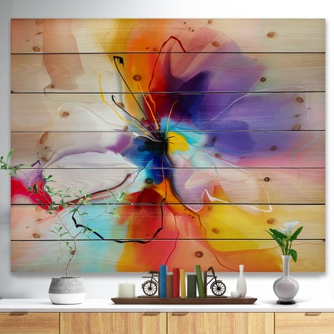 'Creative Flower in Multiple Colors' Floral Print on Natural Pine Wood - Multi-color