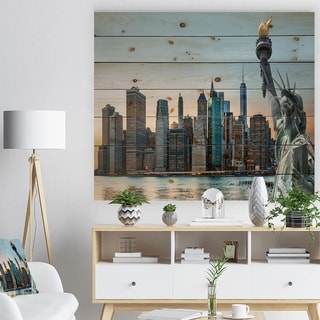 Designart 'New York City Skyline Panorama' Photography Print on Natural Pine Wood - Blue