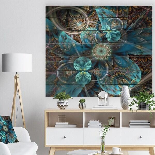 Designart 'Fractal Blue Flowers' Floral Art Print on Natural Pine Wood