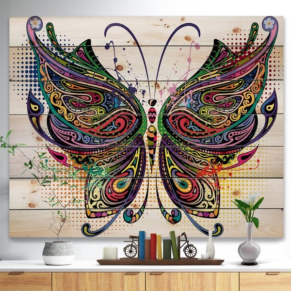 Designart 'Variegated Butterfly' Abstract Print on Natural Pine Wood - Multi-color