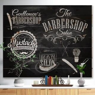 'Set Barbershop' Abstract Print on Natural Pine Wood - Black