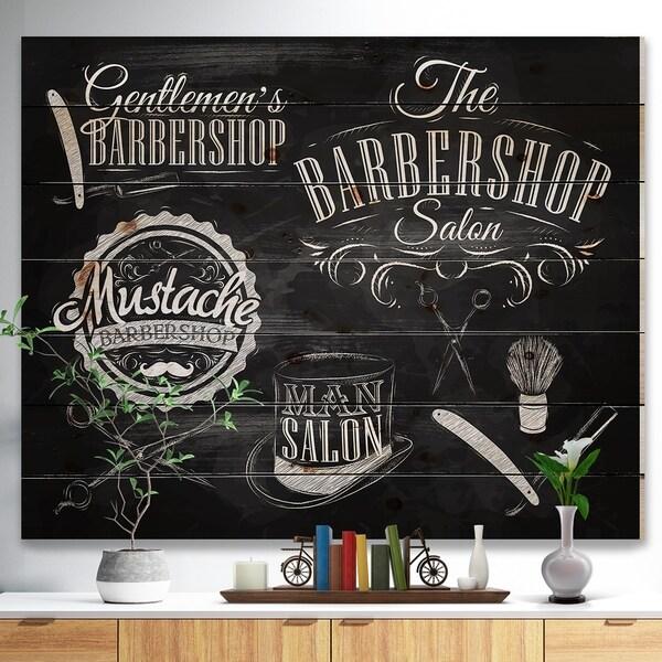 Designart 'Set Barbershop' Abstract Print on Natural Pine Wood - Black