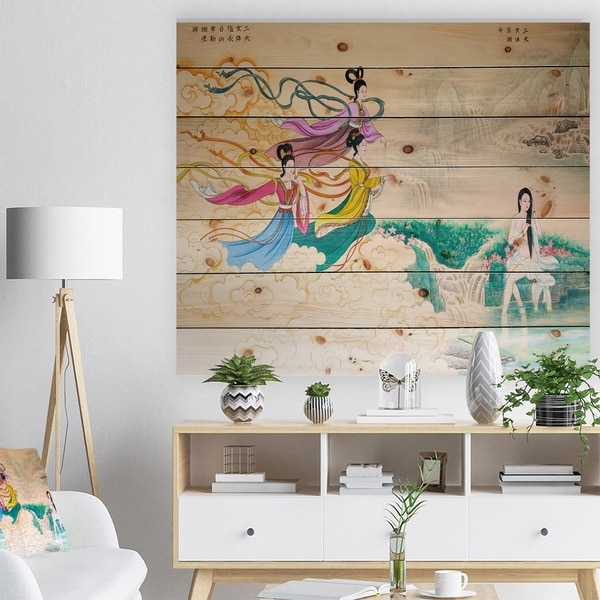 Designart 'Classical Chinese Painting' Abstract Print on Natural Pine Wood - Blue