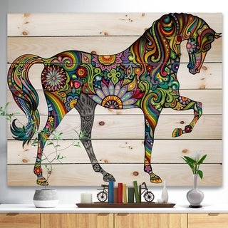 'Cheerful Horse' Bohemian Print on Natural Pine Wood - Multi-color