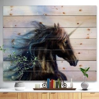Designart 'Black Unicorn' Bohemian Print on Natural Pine Wood - Black