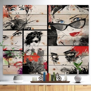 Designart 'Beautiful Faces Collage' Abstract Portrait Print on Natural Pine Wood - Blue