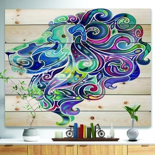 Designart 'Blue Lion Abstract Art' Bohemian Print on Natural Pine Wood - Blue