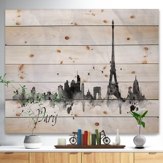 Designart 'Paris with Eiffel Silhouette' Cityscape Print on Natural Pine Wood - White