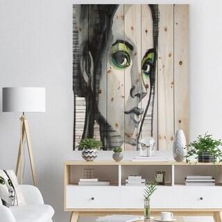 Designart 'Black Illustrated Girl' Abstract Portrait Print on Natural Pine Wood - Black