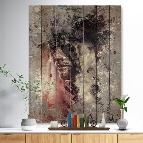 Designart 'Native American Indian Warrior' Bohemian Print on Natural Pine Wood - Multi-color