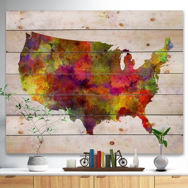 Designart 'United States Map in Colors' Watercolor Painting Print on Natural Pine Wood - Multi-color