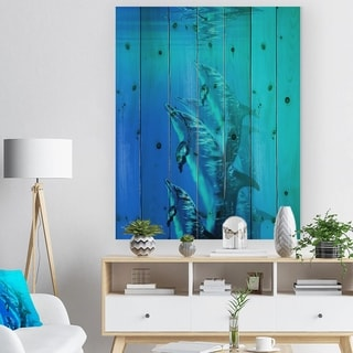 Designart 'Dolphin in Blue Sea' Seascape Print on Natural Pine Wood