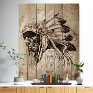 Designart 'Vintage Style Indian Head Tattoo' Abstract Print on Natural Pine Wood - Multi-color