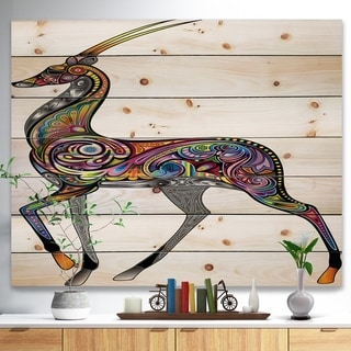 Designart 'Colorful Antelope' Animal Print on Natural Pine Wood - Multi-color