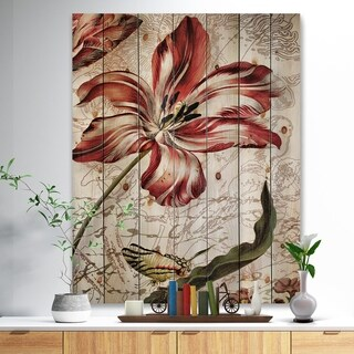 'Red Floral Pattern with Butterfly' Floral Art Print on Natural Pine Wood - Red