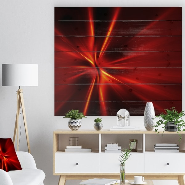 Designart 'Red and Yellow Rays' Abstract Print on Natural Pine Wood - Red
