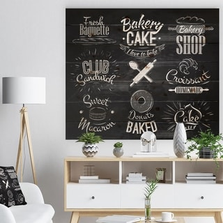 Designart 'Bakery Characters' Abstract Print on Natural Pine Wood - Black
