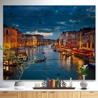 'Grand Canal at Night Venice' Cityscape Photo Print on Natural Pine Wood - Blue