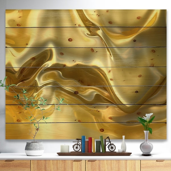 Designart 'Golden Cloth Texture' Abstract Print on Natural Pine Wood - Gold