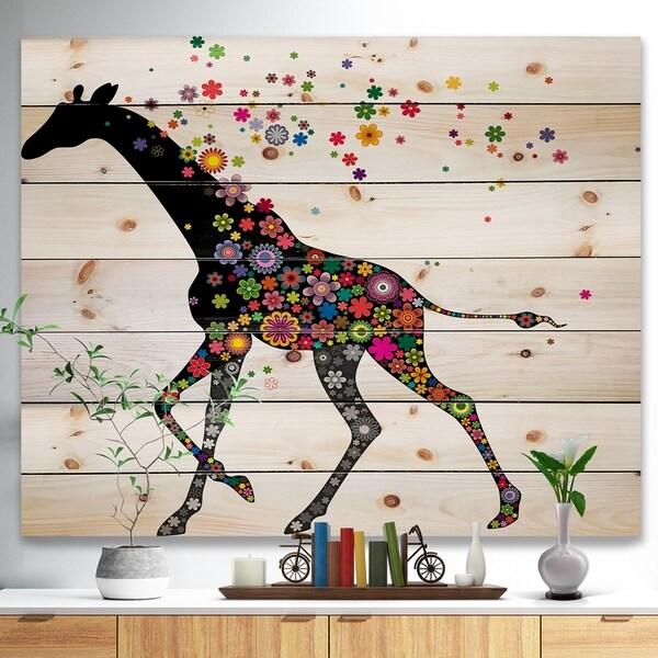 Designart 'Cheerful Giraffe Running' Animal Print on Natural Pine Wood - Multi-color