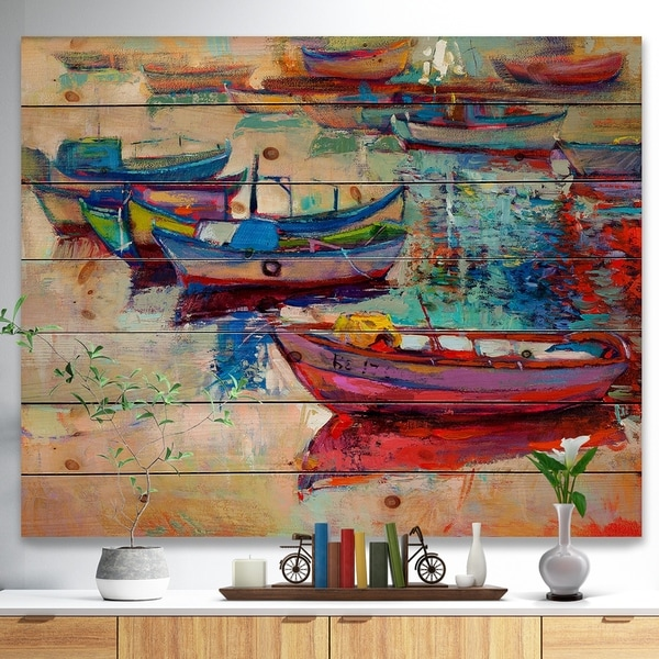 Designart 'Boats and Ocean' Seascape Print on Natural Pine Wood - Green
