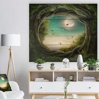Designart 'Enchanted Dark Forest' Landscape Photography Print on Natural Pine Wood - Green