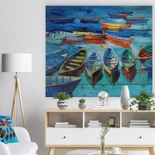 Designart 'Boats in Blue Sea' Seascape Print on Natural Pine Wood