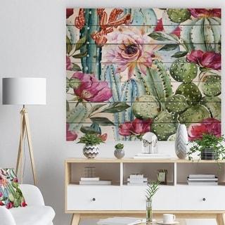 Designart 'Cactus Pattern Watercolor' Bohemian Print on Natural Pine Wood - Green