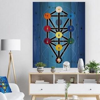 Designart 'Cabala Jewish Symbols' Abstract Print on Natural Pine Wood - Multi-color