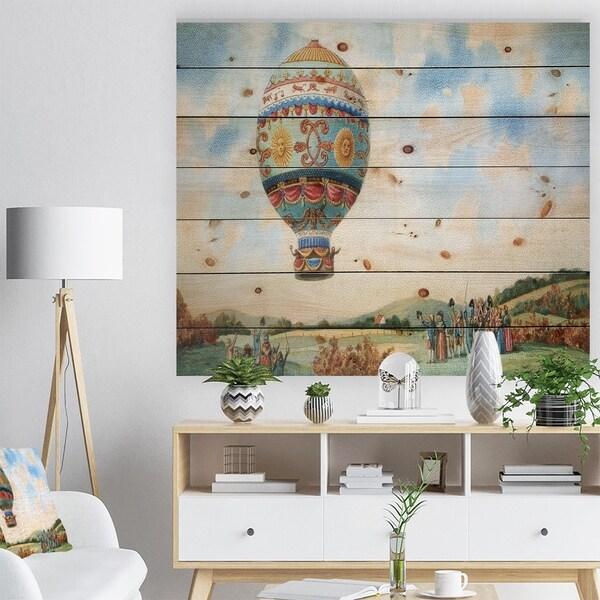 Designart 'Hot Air Balloon Illustration' Abstract Print on Natural Pine Wood - Blue