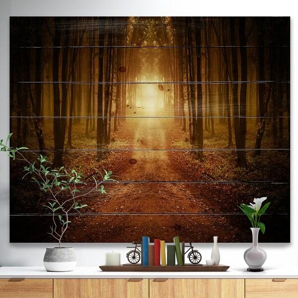 Designart 'Road in Symmetrical Forest' Landscape Photography Print on Natural Pine Wood - Orange
