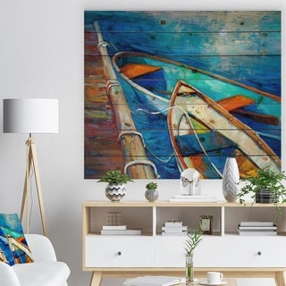 Designart 'Boats and Pier in Blue Shade' Seascape Print on Natural Pine Wood
