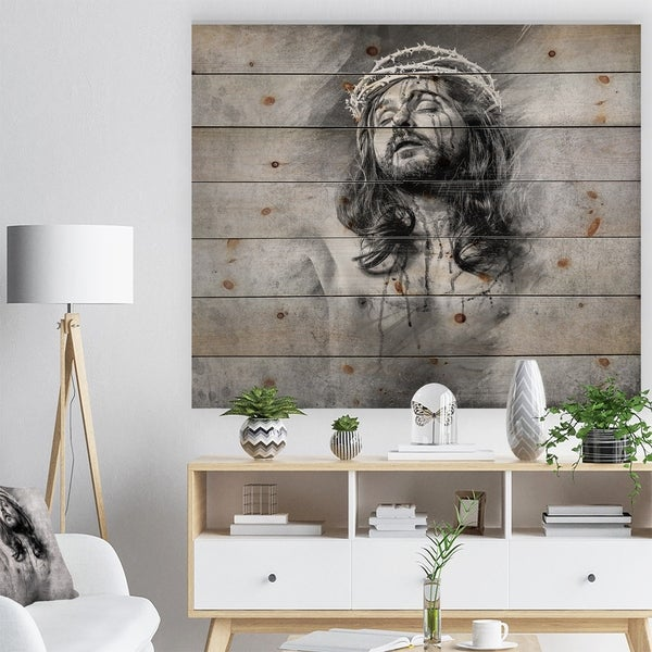 Designart 'Jesus Christ' Abstract Portrait Print on Natural Pine Wood - Grey