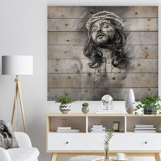 Designart 'Jesus Christ' Abstract Portrait Print on Natural Pine Wood - Grey
