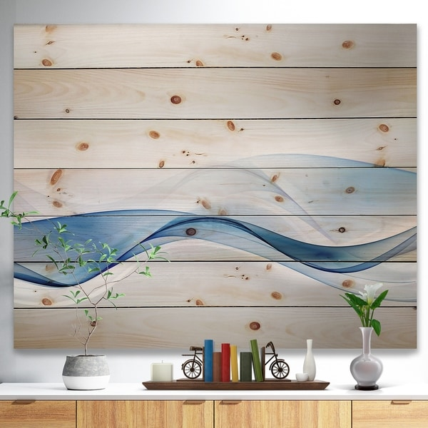 Designart '3D Wave of Water Splash' Abstract Print on Natural Pine Wood - Blue