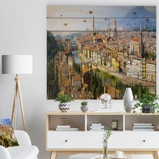Designart 'Florence Panoramic View' Cityscape Photo Print on Natural Pine Wood - Brown