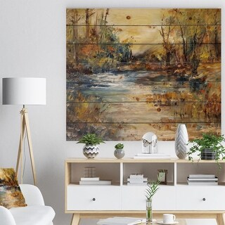 'Stream in Forest Oil Painting' Landscape Print on Natural Pine Wood - Multi-color