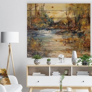 Designart 'Stream in Forest Oil Painting' Landscape Print on Natural Pine Wood - Multi-color