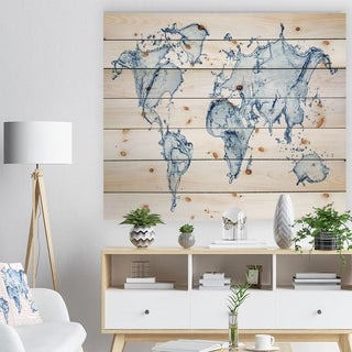 Designart 'World Map Water Splash' Abstract Map Print on Natural Pine Wood - Blue