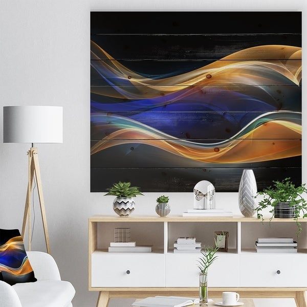 Designart '3D Gold Blue Wave Design' Abstract Print on Natural Pine Wood