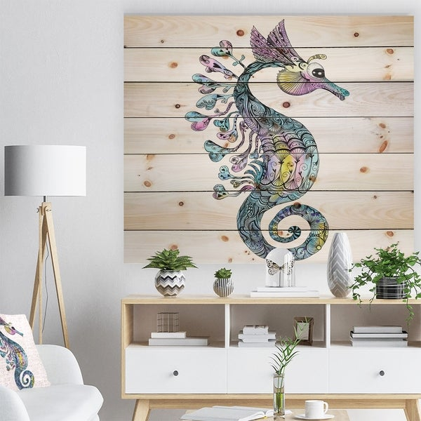 Designart 'Colorful Seahorse Watercolor' Animal Art Print on Natural Pine Wood - White