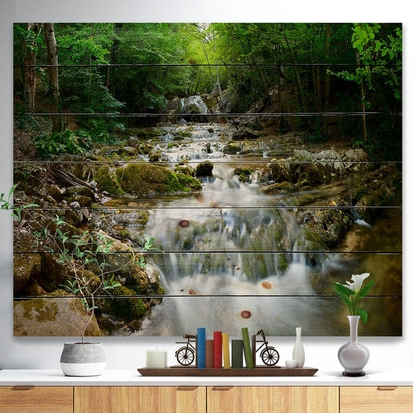 Designart 'Natural Spring Waterfall' Landscape Photography Print on Natural Pine Wood - Green
