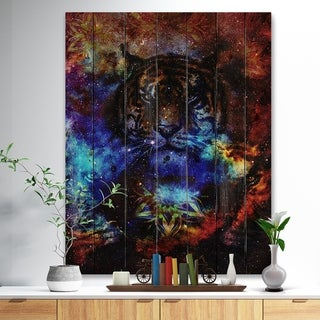 Designart 'Colorful Tiger Collage' Animal Print on Natural Pine Wood - Multi-color