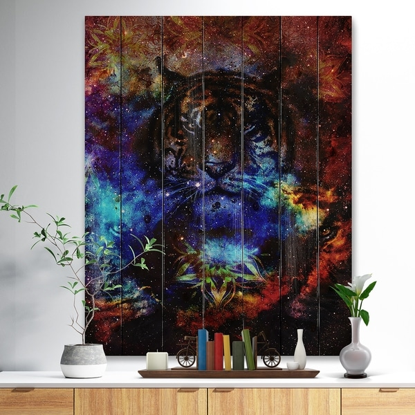 Designart 'Colorful Tiger Collage' Animal Print on Natural Pine Wood - Multi-color