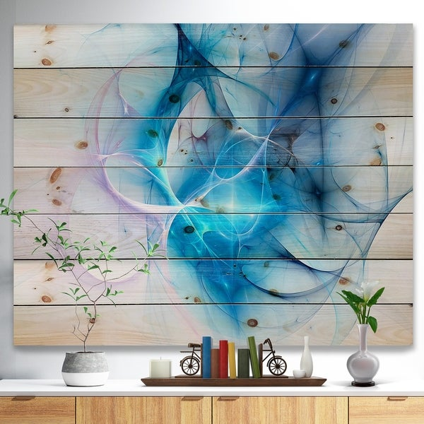 Designart 'Blue Nebula Star' Abstract Print on Natural Pine Wood - Blue